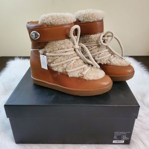 **Coach Monroe Sz 7 Hidden Wedge Shearling Boots